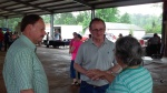 Rick Nowlin and Nick Verret answer a voters questions regarding a road in the Parish.