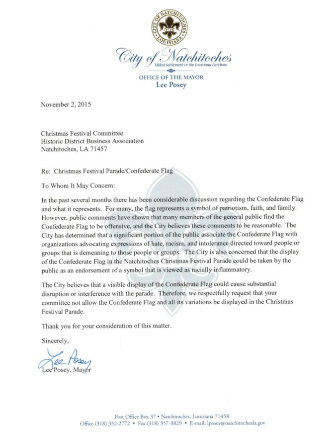 Flag Letter - Mayor Lee Posey